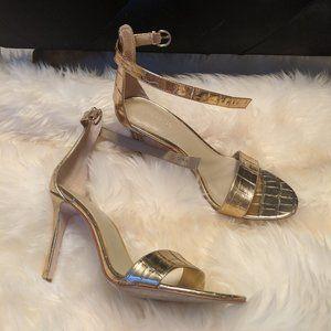 Ann Taylor Gold Leather Croc High Heel 7.5